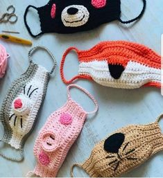 Animal face mask child sizeRight now let us learn to crochet The Face Hide By using Filter. Crochet Mask, Crochet Faces, Crochet Animals, Crochet Gratis, Free Crochet, Knit Crochet, Easy Crochet, Animal Face Mask, Animal Masks
