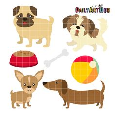 Toy Dog Breeds Digital Clip Art for Scrapbooking Card Making Cupcake Toppers Paper Crafts Digitized Embroidery Teaching SVG Cuts