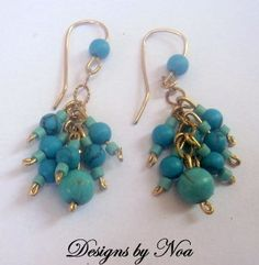 Gold Filled Dangling Turquoise  Boho Chic Earrings by DesignsbyNoa, $35.00