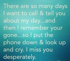 I still text you just to talk with you. I just wish you could text me back. I wish so many things for you and I
