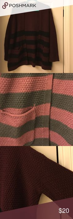 Striped Dropped Shoulder Cardigan-Burgundy Burgundy open front cardigan with black stripes. Dropped shoulder. Two pockets in front. Excellent condition. 100% acrylic. Forever 21 Sweaters Cardigans