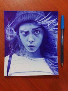 Blue ballpoint pen portrait drawing in a Moleskine. Wow! #drawing #pen #art #penart #portrait Biro Art, Ballpoint Pen Drawing, Amazing Drawings, Beautiful Drawings, Art Sketches, Art Drawings, Stylo Art, Pen Illustration, Realism Art