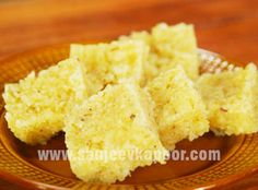 Superbly tasty coconut burfi with the flavour of pineapple.