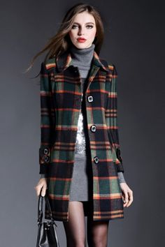 elegant-tartan-plaid-turn-down-collar-coat