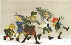 Christmas card from a painting by Anne Grahame Johnstone.