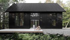 Black House Exterior, Exterior House Colors, Design Exterior, Modern Exterior, Modern House Colors, Roof Cladding, Black Architecture, Concrete Patios, Cottage Design