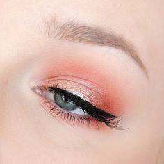 soft coral and peach eye with winged liner - lovely for a spring or summer wedding makeup look! Makeup Geek, Makeup Inspo, Makeup Inspiration, Beauty Makeup, Beauty Kit, Makeup Ideas, Beauty Products, Summer Wedding Makeup, Wedding Makeup Looks