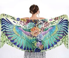 Wings scarf bohemian bird feathers shawl SUBLIME hand door Shovava