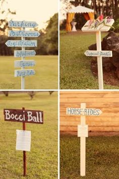 Wedding lawn games with home-made painted direction signs/ Photo by What a Day Photography/ http://www.seasonsoflifeevents.com/