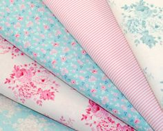 Tilda Fabric FQ Bundle  TEAL  PINK  Pack of 5 Fat by LovetoSewUK, $27.50