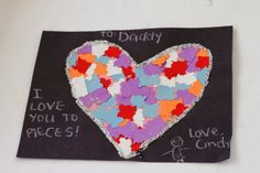 Valentine Crafts for kids and toddlers.   love you to pieces card