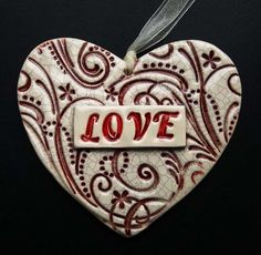 Valentines ceramic heart decoration Love