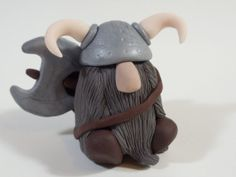 Gray Beardy Viking Gnome With Helmet, Shield and Battle Ax.   Free Shipping In United States