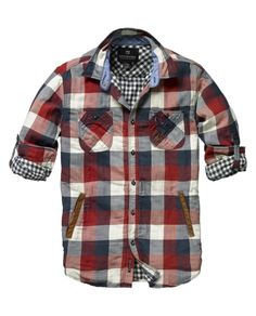 Scotch & Soda Checkered shirt with leather welt pockets