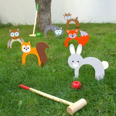 I've just found Woodland Animal Croquet Set. Woodland animal garden croquet set suitable for indoor and outdoor use. Projects For Kids, Diy For Kids, Crafts For Kids, Outdoor Games For Kids, Outdoor Toys, Croquet Party, Christmas Gifts For Boys, Wooden Animals, Diy Games