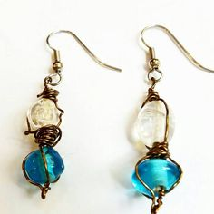 Check out this item in my Etsy shop https://www.etsy.com/listing/212884030/wire-wrapped-blue-and-white-earrings