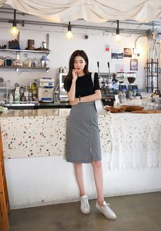 Chess Player Check Pencil SkirtYou can find Korea fashion and more on our website. Korean Girl Fashion, Korean Fashion Trends, Korean Street Fashion, Black Women Fashion, Korea Fashion, Asian Fashion, Look Fashion, Skirt Fashion, Fashion Outfits