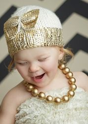 Blueberry Hill Cream with Gold Bow Sabrina Hat