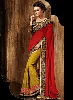 Shop this product from here.. http://www.silkmuseumsurat.in/awesome-red-and-brown-colour-half-n-half-designer-saree?filter_name=4234  Item :#4234  Color : Brown, Mustard, Red Fabric : Art Silk, Faux Georgette Occasion : Bridal, Party, Reception, Wedding Style : Lehenga Style Saree Work : Embroidered, Kasab, Patch Border, Resham, Stones