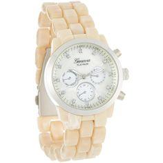Geneva Platinum Bone & Silver Link Contrast Bracelet Watch ($9.99) ❤ liked on Polyvore featuring jewelry, watches, analog watches, platinum watches, silver wrist watch, geneva watches and bracelet watch