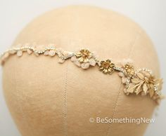 Vintage Lace and Gold Rhinestone Headband Tiara by BeSomethingNew
