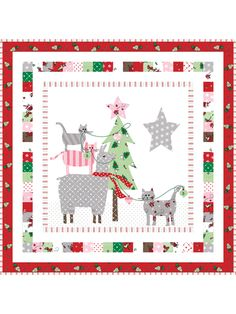 Cats and llamas decorating a Christmas tree -- could it get any cuter for the holidays? This charm pack-friendly project is the perfect mini quilt for Christmas! Make 1 for yourself and another to give as a gift. Everyone has room for a mini quilt! Mini Quilt Patterns, Christmas Quilt Patterns, Christmas Applique, Christmas Minis, Applique Patterns, Applique Quilts, Christmas Quilting, Christmas Ideas, Christmas Decorations