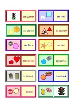 Shapes loop cards  . 1 page  .For Primary German and Early Years settings .Individual or Small group activity . This work is licensed under a Creative Commons Attribution 4.0 International License.