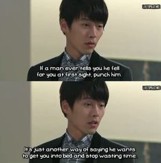 A harsh lesson from a harsh kind of guy. But if I punch you, will you really fall in love with me then? -- Secret Garden, Kim Joo Won (played by Hyun Bin) #secretgarden