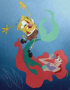 SpongeBob and Ariel! by POB-DAWG on @DeviantArt Spongebob Squarepants Tv Show, Stephen Hillenburg, Great Pranks, Best Crossover, Best Duos, Great Friends, Cute Drawings, The Little Mermaid, Ariel