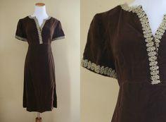 1960's Velvet Princess Dress  60's Babydoll by LittleGhostVintage