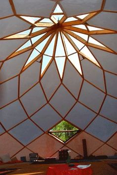 Here's a photo of the inside of the geodesic dome with clay infil