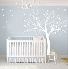 Nursery walls, Wall decal This listing comes with tree, leaves, Stars    This tree decal measures 59 wide x 74 high      ~Custom Order~  Please
