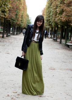 green maxi skirt leather jacket white tshirt