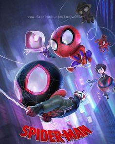 Spiderman into spider verse Spiderman Chibi, Spiderman Noir, Spiderman Kunst, Chibi Marvel, Black Spiderman, Marvel Art, Marvel Comics, Chibi Manga, Chibi Bts