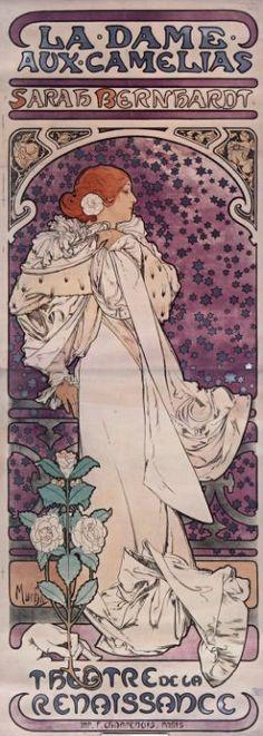 La Dame aux Camélias. Sarah Bernhardt #gallica #illustrator #mucha #illustrateur