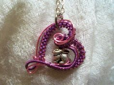 Lavender Pink Easter Bunny Rabbit Heart Handcrafted Copper Wire Wrapped Necklace #Handmade #Pendant $16.50 Easter jewelry, rabbit lovers, holiday jewelry