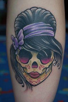 tatouage femme tête de mort swag