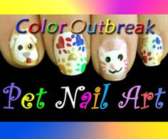 ღCat & Dog Nail Art Design- Cute Pets Cat and Dog + Colorful Paws!ღ