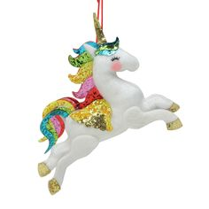 Add fantasy and happiness to your holiday decor with the selection of this Northlight Plush Leaping Rainbow Unicorn Hanging Christmas Ornament. Ready-to-hang. Unicorn Christmas Ornament, Unicorn Ornaments, Glass Christmas Tree Ornaments, Pink Christmas, Christmas Decorations, Holiday Decor, Christmas Gnome, Christmas 2019, Holiday Gifts