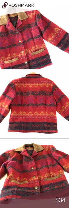 """Vintage Woolrich Red Floral Blanket Jacket A rare find!  In good used condition.  Classic styling with thick shoulder pads.   Measurements 23"""" pit to pit, 19.5"""" waist 25"""" length, 6"""" Shoulder l22"""" Sleeve.    Lovely and warm Woolrich Jackets & Coats"""