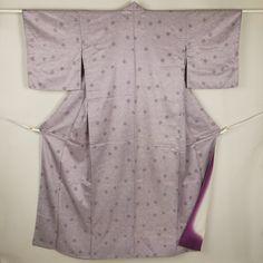 Puple komon, casual kimono / 【小紋】リサイクル着物/紫系 水紋風丸尽くし柄