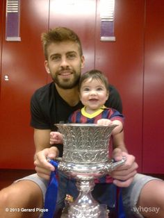 First Camp Nou experience with the Spanish Super Cup...   Gerard Pique from Barcelona FC wwith his son Milan.  ~lbk~