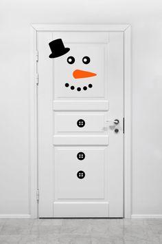 Traditional Snowman Vinyl Decal  Fridge Door Vinyl Decal Kit