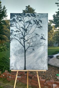 Check out this item in my Etsy shop https://www.etsy.com/listing/451896484/abstract-painting-tree-painting-metallic