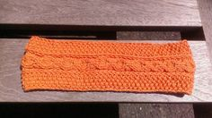 orange knit headband summer head wrap beach by UniqueKnitDesign