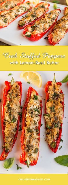 Crab Stuffed Peppers with Lemon-Basil Butter Patty and I are still enjoying the crab we caught in the Chesapeake Bay with this recipe for sweet peppers stuffed with succulent crab meat, goat cheese and Parmesan, then baked to perfection. So glad we caught Seafood Casserole Recipes, Seafood Bake, Crab Meat Recipes, Seafood Appetizers, Seafood Dinner, Appetizers For Party, Vegetable Recipes, Appetizer Recipes, Seafood Party