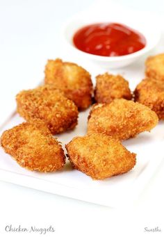 Chicken nuggets recipe - One of the popular fast foods usually made with slurry can be made at home. These taste delicious and easy to make. Healthy Recipe Videos, Heart Healthy Recipes, Veg Recipes, Indian Food Recipes, Cooking Recipes, Fast Recipes, Healthy Kids, Snack Recipes, Chicken Nugget Recipes