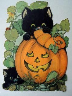 """Vintage Hallmark Halloween Pumpkin Black Cat Kittens Die Cut DieCut ~ 12"""""""