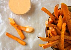 Sweet Potato Fries with Sriracha Creme Fraiche