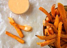 Sweet Potato Fries with Sriracha Crème Fraîche by Marissa Lippert, bonappetit #Sweet_Potato_Fries #Sriracha #Marissa_Lippert #bonappetit